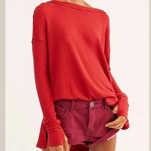 Free People Red Waffle Offer The Shoulder Tunic